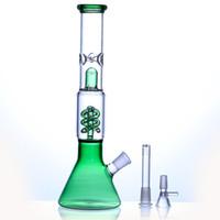 modelos de teléfono más nuevos al por mayor-Cubilete bong de vidrio con diseño de gracia tubo recto con cuentas qround vaso de agua bong aspecto fresco tubo de agua verde vidrio cachimbas