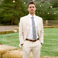 Wholesale champagne slim fit tuxedo resale online - Custom Made Summer Ivory Champagne Linen Suits Men Skinny Wedding Suits Bridegroom Beach Tuxedo Piece Casual Blazer Prom Jacket Pants