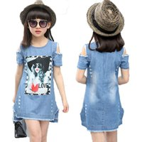 Wholesale Denim Shirts For Girls - Children Dresses For Girls Denim Dress Summer Strapless Dress Pattern Girls Clothing Short Sleeve Child Clothes Denim T-Shirts