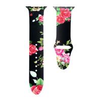 çiçek çiçeği izle toptan satış-Apple İzle Serisi için 3 2 1 iwatch 38mm / 42mm Silikon Watch Band Çiçek Çiçek Spor Kayış