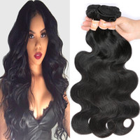 Wholesale Cheap Wavy Human Hair Extensions - Mink Brazilian Body Wave Hair Weaves Wavy Remy Human Hair Bundles of 4 Cheap Peerless Virgin Hair Extensions Unprocessed Natural Black Color