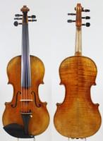 cuerdas de violines al por mayor-Violín Violín de 5 Cuerdas! Copie el Modelo Stradivari 1715! Vamish de aceite Antiqued.Master Tone! Case Bow Rosin! ¡Envío gratis! ¡Puente de Aubert!