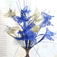 Wholesale glitter butterflies decorations - Very suitable forChristmas decoration  Glittered curly Glitter Butterfly bunch   plastic simulation flowering plants Light Artificial flower