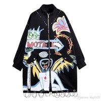 ingrosso giacche con cappotti in stile punk-Fashion Brand Graffiti Rivetti Giacca lunga da donna Cappotto Stile Punk Plus Size Donna Cappotto Giacca bomber Oversize Cappotto lungo
