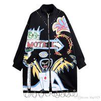 casacos de estilo punk venda por atacado-Marca de moda Graffiti Rebites Mulheres Casaco Longo Jaqueta Estilo Punk Plus Size Mulheres Jaqueta Bomber Brasão Oversize Longo Casaco