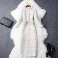tek parça elbise yaka toptan satış-2018 Güz Kadınlar Lady Yeni Yuvarlak Yaka Eelegant Rhinestone Plaid Tweed Orta Buzağı Tek Parça Elbise Moda Iş Elbiseleri T8037