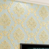 Wholesale damascus wallpaper - Wholesale-European Style Non-woven Wallpaper Luxury Damask 3D Stereoscopic Relief Damascus Bedroom Living Room Wall Paper Home Decor Paper