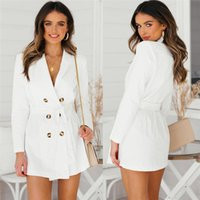 дамы длинное белое пальто оптовых-Women Trench Fashion Long Sleeve Solid White Long Coats Windbreaker Slim Double Breasted Trench Coat For Ladies New Arrival