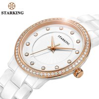 Wholesale-STARKING Official Women Reloj de cuarzo Reloj Venta caliente Diamond Ladies Bracelet Watches Geneva Rose Gold Rhinestone Relojes de cerámica