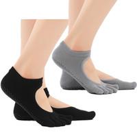 Wholesale Yoga Pilates Toes Socks - Black Grey Women's Yoga Socks Full Toe Grips Socks Non Slip Grip Socks for Pilates Ballet Barre Studio Workout G517S