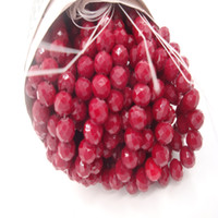 perlas de cristal de cerámica al por mayor-145 Beads / 4MM 98 Beads / 6MM 70 Beads / 8MM Vino Rojo Rondelle Facetado Grano de cristal de cerámica perlas Claret Bead para la fabricación de joyas de bricolaje