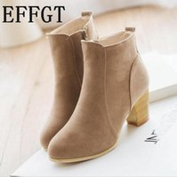 zapatos de limpieza al por mayor-EFFGT NEW Otoño invierno botas de cilindro corto con botas de tacón alto Zapatos Martin tobillo de mujer con matorral grueso Z316