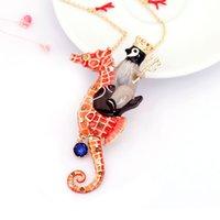 Wholesale Jewelry Penguin Pendant - Les Nereides Crown Hippocampus Penguin Pendant Necklaces For Women Top Quality Gold Plated Jewelry Lady Wedding Accessories Wholesale