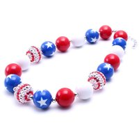 Wholesale Fun Necklaces - Super fun red blue white plastic beads chunky necklace kids girls gumball star pattern beads necklace 2pcs lot