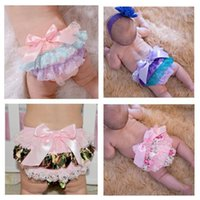 lace diaper covers 2018 - Baby Soft full Lace Ruffle Shorts Summer Toddler Rainbow Blue Pants Newborn Diaper Cover Baby Bloomer Pants Girls Shorts With Bow YL193