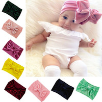Wholesale big headed shower heads for sale - Group buy Velvet Baby Headbands Knotted big Bow Infant Head Wraps Solid Newborn Baby Hair Accessories Boutique Headbands For Sale Bay Shower Gifts