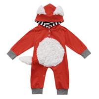 bebek giyim tilki toptan satış-Bebek kız erkek tilki romper INS karikatür Uzun kollu Kapşonlu Tulumlar Sonbahar çocuklar Tırmanma giysileri C5371