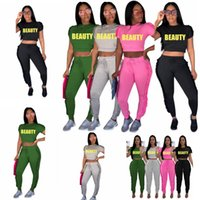 Wholesale Ladies Tops Butterfly Sleeve - 4 color Beauty Letter Printed Two Piece Suit Ruffles Crop Top And High Waist Long Pants Ladies Sweat Suits Jogger Leisure EEA87