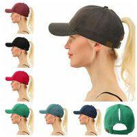 Wholesale hats jeans caps - CC Ponytail Hats WOMEN CC Bun Cap Summer Horsetail Baseball CapSunshade Fashion Hats Jeans HipHop Street Cap Pony Tail Visor hat KKA5016