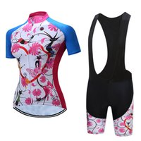 Wholesale bicycle jersey design - Nice Flower Design Short Sleeve Womens Cycling Jersey Short Set Summer Bicycle Clothing Bib Shorts Polyester Maillot Ciclismo