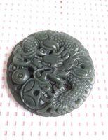 Wholesale china green jade dragon - China's xinjiang hotan jade dragon pendant free shipping certificate D1