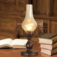 e27 led regulable esmerilado al por mayor-European Vintage Kerosene Table Lamp para estudio de dormitorio, lámpara de vidrio esmerilado lámpara de noche retro con interruptor de perilla regulable
