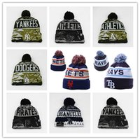Wholesale Cycling Caps Cheap - 2018 new style fashion wholesale Cotton All Team Football Pom Pom Beanies Men Women Winter Hats With Pom Cheap Sports Skull Caps Hot Sale