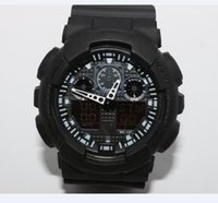 Wholesale dual time display watches - dual display sports watch ga100 G Black Display LED Fashion army military shocking watches men Casual Watches