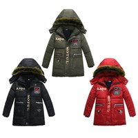 Wholesale parkas baby boy winter for sale - Group buy Baby Boy Thickening Snowsuit Fur Collar Hooded Cotton Padded Jacket Letter Printed Buttons Zipper Pocket Parka Winter Clothes Windbreaker
