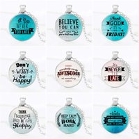 Wholesale Late Glass - letter pendant necklace Celebrity quotes Inspirational words Time Gemstone glass cabochon necklaces Sweater chain never too late believe