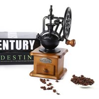 Wholesale hand grinders coffee - Coffee Grinder Retro Style Burr Coffee Grinder Hand Grinding Machine Hand-crank Roller Elegant and Novelty for Home Office Coffee Bar