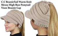 Wholesale Knit Visor Hat - cc beanietail warm knit messy high bun ponytail visor beanie cap ponytail beanie baseball cap Back Hole Pony Tail hat z139