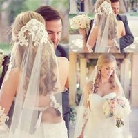 Wholesale vintage veils - Princess in stock Wedding Veils Cheap Vintage White Ivory Tulle Lace Wedding Bridal Veil Elbow Length One Layer Events Free Shipping