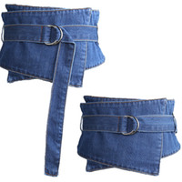 Wholesale ladies denim long dresses - New Cummerbunds cowboy blue belt Vintage denim shirt dress belt bind lady slim waist joker long tail waist sealing