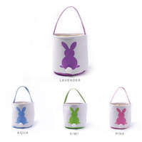 Wholesale egg baskets - Easter Rabbit Basket Easter Bunny Bags Rabbit Printed Canvas Tote Bag Egg Candies Baskets 4 Colors 50pcs OOA3960