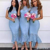 buz mavi düğün nedime elbiseleri toptan satış-Buz Mavi Çay Boyu Onur Abiye Örgün Düğün Misafir Elbise 2020 Gelinlik Modelleri Vintage Dantel Yüksek Düşük Capped Kol Hizmetçi