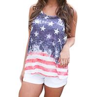 американский флаг жилет женщин оптовых-Мода Женщины Повседневная американский флаг печати O-образным вырезом жилет майка без рукавов рубашки Tee mujer blusas бесплатная доставка #F