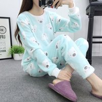 Wholesale thick warm sleepwear - 2017 Winter Women Pyjamas Sets Thick Warm Cute Bear Coral Velvet Suit Flannel Long Sleeve Female Cartoon Animal Sleepwear