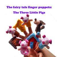 cuento de marionetas al por mayor-8Pcs / Lot Three Little Pigs Finger Puppet Children Cuento de hadas educativo Cuento de hadas juguetes de peluche Figer Puppet