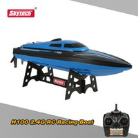Wholesale h boat - RC Boats Ship Original Skytech H100 2.4G Remote Controlled 180° Flip 20KM H High Speed Electric RC Boat Control Vehicles toys