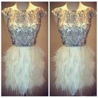 Wholesale vogue prom dresses - 2018 Vogue Silver Top Bling Bling Mini Short Crystal Beaded Feather Cocktail Dresses Vestido Social Curto Short Prom Party Dresses