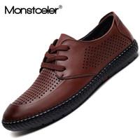Wholesale Business Sandals - Monstceler Summer New Business Men's Leisure Sandals Breathable Hollow Male Driving Shoes Punch Holes Sewing Shoes Flats