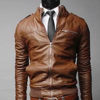 chaqueta de cremallera de la motocicleta al por mayor-Recién llegado de cuero de la motocicleta chaquetas masculinas masculinas abrigos delgados con cremallera Hombre abrigos chaquetas de pie Jaqueta De Couro Masculina