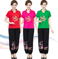 Wholesale tang suit women - Traditional Chinese Clothing Sets Women cotton blend breathable fabric (top+pant)Sets vintage pattern Chinese Tang Suit ethnic clothing
