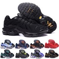 yeni tn ayakkabıları toptan satış-2018 Yeni Tasarım En Kaliteli TN Mens shOes Nefes Örgü Chaussures Homme Tn REqUin Noir Rahat Koşu Çabuklar Boyutu 7-12