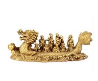 ingrosso statue incrociate-statua in rame di Feng Shui decorazione ornamenti artigianali The Eight Immortals Crossing the Sea dragon boat Home Furnishing decoratio
