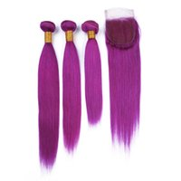 cheveux bruns bruns achat en gros de-1B / Purple Dark Racine Ombre Brésilien Bundles de Cheveux Humains 3 Pcs avec Fermeture 4 Pcs Lot Ombre Purple 4x4 Dentelle Fermeture avec Virgin Human Hair