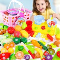 Wholesale kids pretend toys online - Hot Sale Plastic Kitchen Food Fruit Vegetable Cutting Kids Pretend Play Educational Toy Safety Children Kitchen Toys Sets