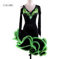 Wholesale women costume bra for sale - Latin Dance Dress Costumes Women Salsa Tango Dress D007 Green with Bra Cup Underwear Rhinestones Fluffy Sheer Hem Long Sleeve