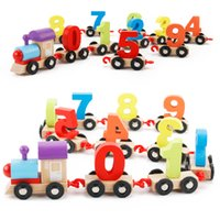 Wholesale Educational Train Toys - Children color digital train puzzle assembled color wooden train baby recognize the color toy train free shipping